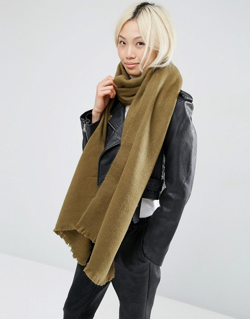 Supersoft Long Woven Scarf Khaki - predominant colour: khaki; occasions: casual; type of pattern: standard; style: regular; size: large; material: fabric; pattern: plain; wardrobe: basic; season: a/w 2016