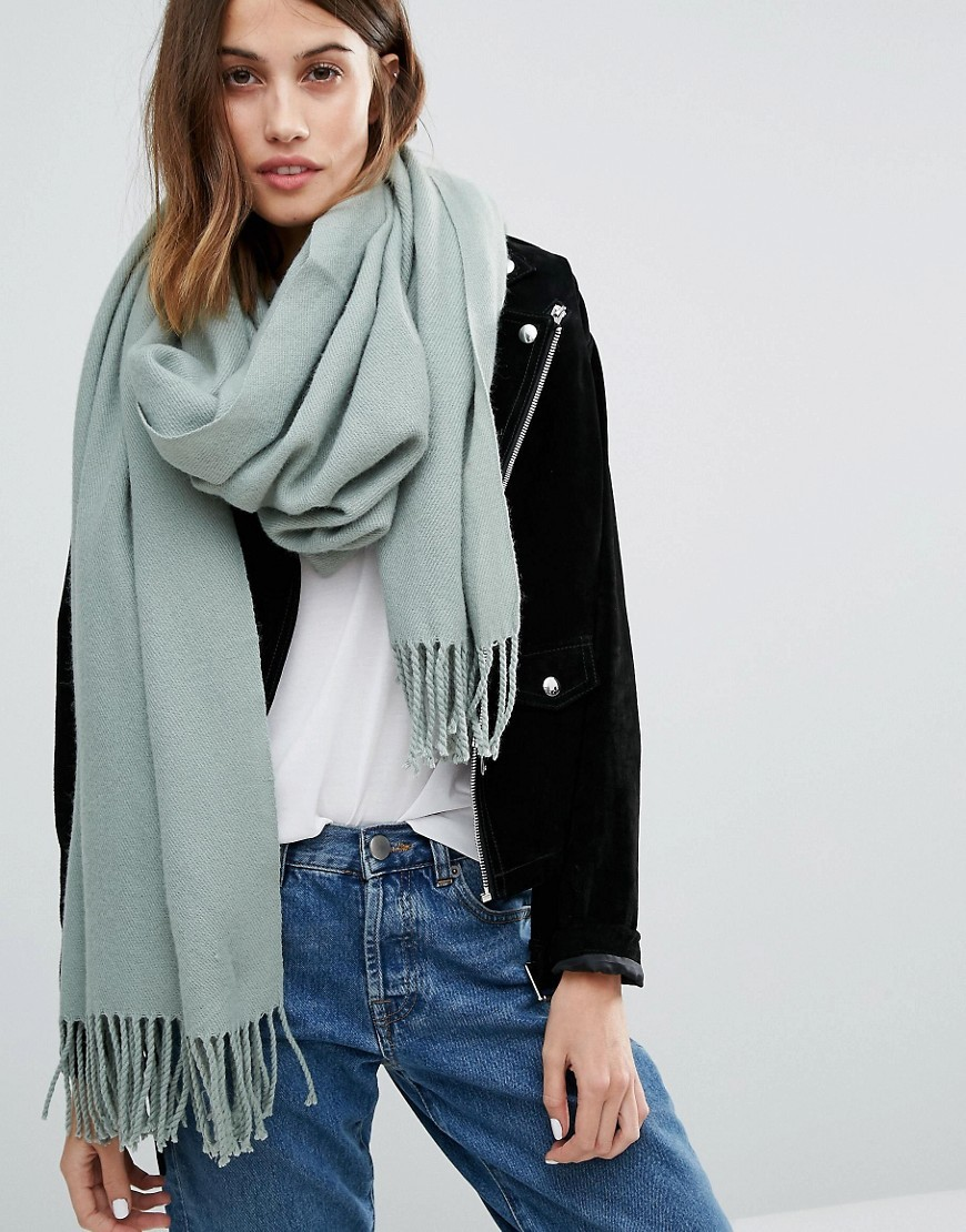 Tassel Scarf Slate Grey - predominant colour: pistachio; occasions: casual; type of pattern: standard; style: pashmina; size: large; material: knits; pattern: plain; season: a/w 2016; wardrobe: highlight
