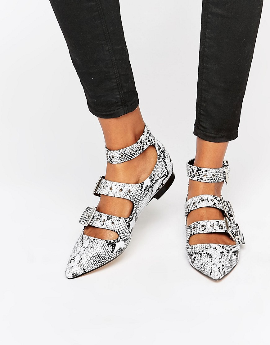 London Pointed Buckle Ballet Flats Snake Pu - predominant colour: light grey; occasions: casual, creative work; material: faux leather; heel height: flat; ankle detail: ankle strap; toe: pointed toe; style: ballerinas / pumps; finish: plain; pattern: animal print; season: a/w 2016