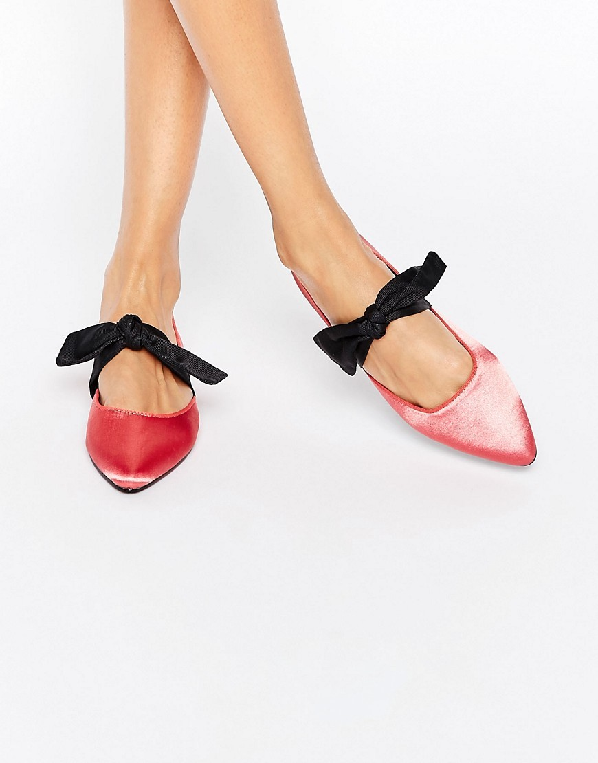 Loveable Pointed Bow Ballet Flats Pink - predominant colour: pink; secondary colour: black; occasions: casual, creative work; material: fabric; heel height: flat; toe: pointed toe; style: ballerinas / pumps; finish: plain; pattern: plain; embellishment: bow; multicoloured: multicoloured; season: a/w 2016; wardrobe: highlight; trends: metallics