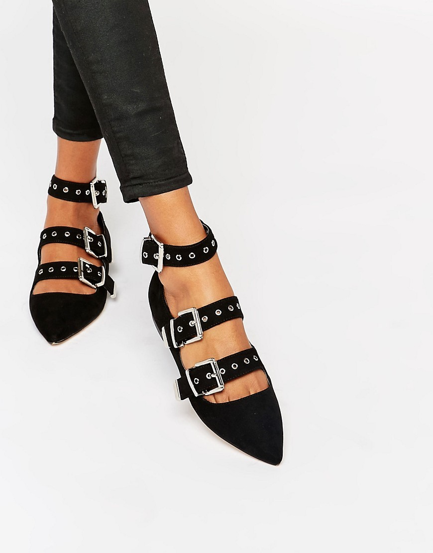 London Pointed Buckle Ballet Flats Black - predominant colour: black; occasions: casual, creative work; material: suede; heel height: flat; embellishment: buckles; ankle detail: ankle strap; toe: pointed toe; style: ballerinas / pumps; finish: plain; pattern: plain; season: a/w 2016