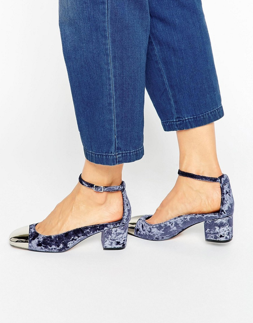 Sugar Baby Velvet Heels Slate Velvet - predominant colour: navy; secondary colour: silver; occasions: casual, creative work; material: velvet; heel height: mid; ankle detail: ankle strap; heel: block; toe: round toe; style: courts; finish: plain; pattern: plain; season: a/w 2016; wardrobe: highlight