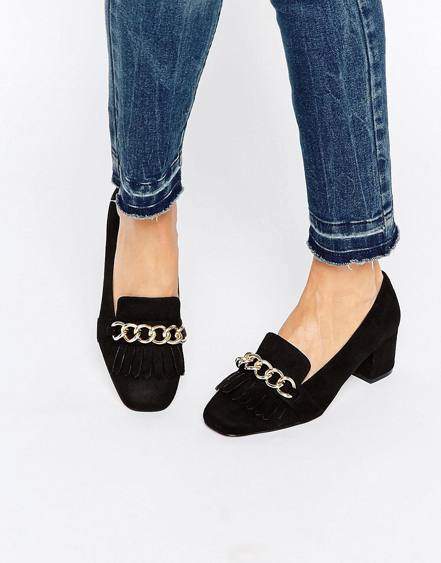 Symbolic Heeled Loafers Black - secondary colour: gold; predominant colour: black; occasions: casual; material: fabric; heel height: flat; toe: round toe; style: loafers; finish: plain; pattern: plain; embellishment: chain/metal; season: a/w 2016