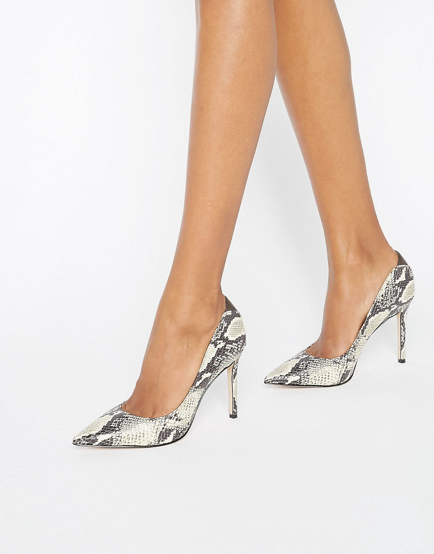 Hazel Snake Print Court Shoes Snake - predominant colour: ivory/cream; secondary colour: charcoal; occasions: evening, occasion; material: faux leather; heel height: high; heel: stiletto; toe: pointed toe; style: courts; finish: plain; pattern: animal print; season: a/w 2016; wardrobe: event