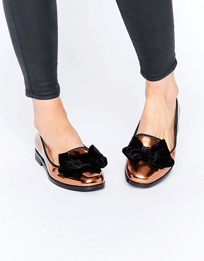 Monica Wide Fit Bow Flat Shoes Bronze - predominant colour: bronze; secondary colour: black; occasions: casual, creative work; material: faux leather; heel height: flat; toe: round toe; style: loafers; finish: metallic; pattern: colourblock; embellishment: bow; season: a/w 2016; wardrobe: highlight