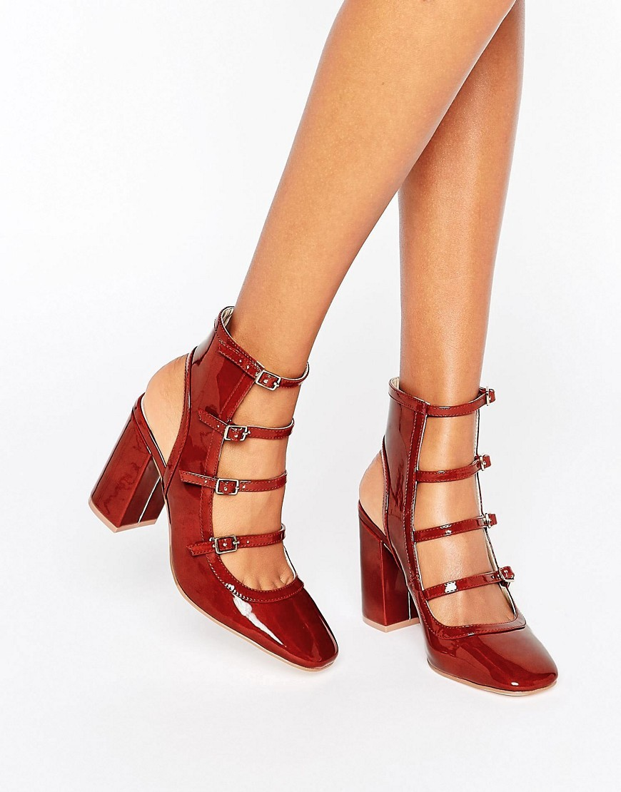 Eklis Multi Buckle Shoe Boots Rust - predominant colour: true red; occasions: casual, creative work; material: faux leather; heel height: high; heel: block; toe: square toe; boot length: ankle boot; finish: patent; pattern: plain; style: cut outs; season: a/w 2016