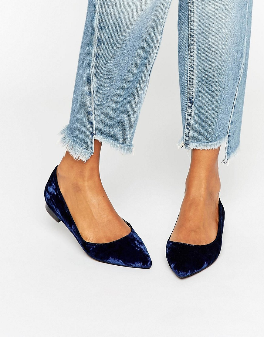 Lost Velvet Pointed Ballet Flats Navy Velvet - predominant colour: navy; occasions: casual; material: faux leather; heel height: flat; toe: pointed toe; style: ballerinas / pumps; finish: plain; pattern: patterned/print; season: a/w 2016; wardrobe: highlight