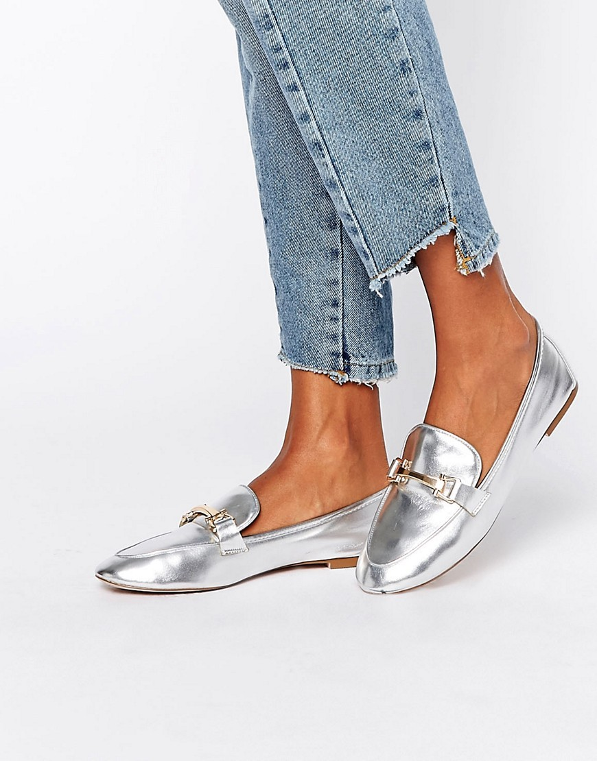 Magical Loafers Silver - predominant colour: silver; occasions: casual; material: faux leather; heel height: flat; toe: round toe; style: loafers; finish: patent; pattern: plain; wardrobe: basic; season: a/w 2016