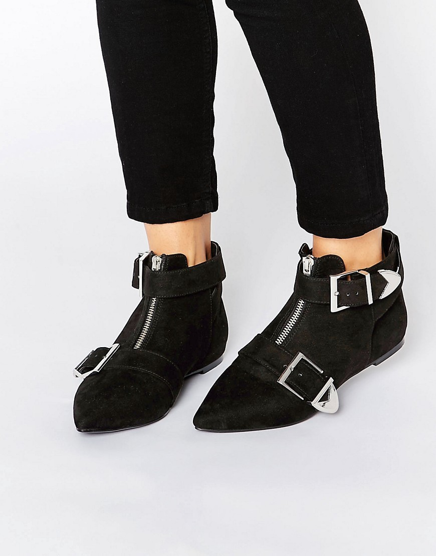Acamar Buckle Ankle Boots Black - secondary colour: silver; predominant colour: black; occasions: casual, creative work; heel height: flat; embellishment: buckles; heel: standard; toe: pointed toe; boot length: ankle boot; style: standard; finish: plain; pattern: plain; material: faux suede; season: a/w 2016