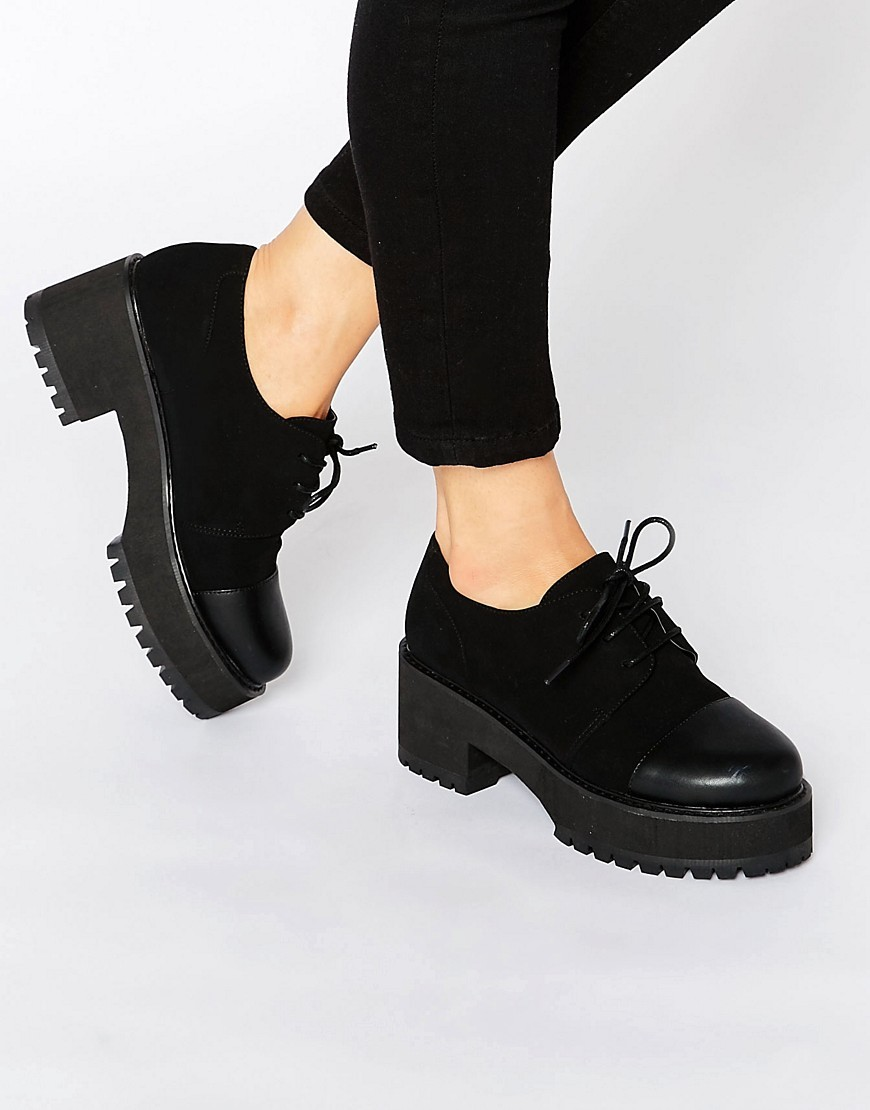 Obaca Chunky Lace Up Shoes Black - predominant colour: black; occasions: casual, creative work; material: faux leather; heel height: mid; heel: block; toe: round toe; finish: plain; pattern: plain; style: brogues; shoe detail: platform with tread; season: a/w 2016; wardrobe: highlight