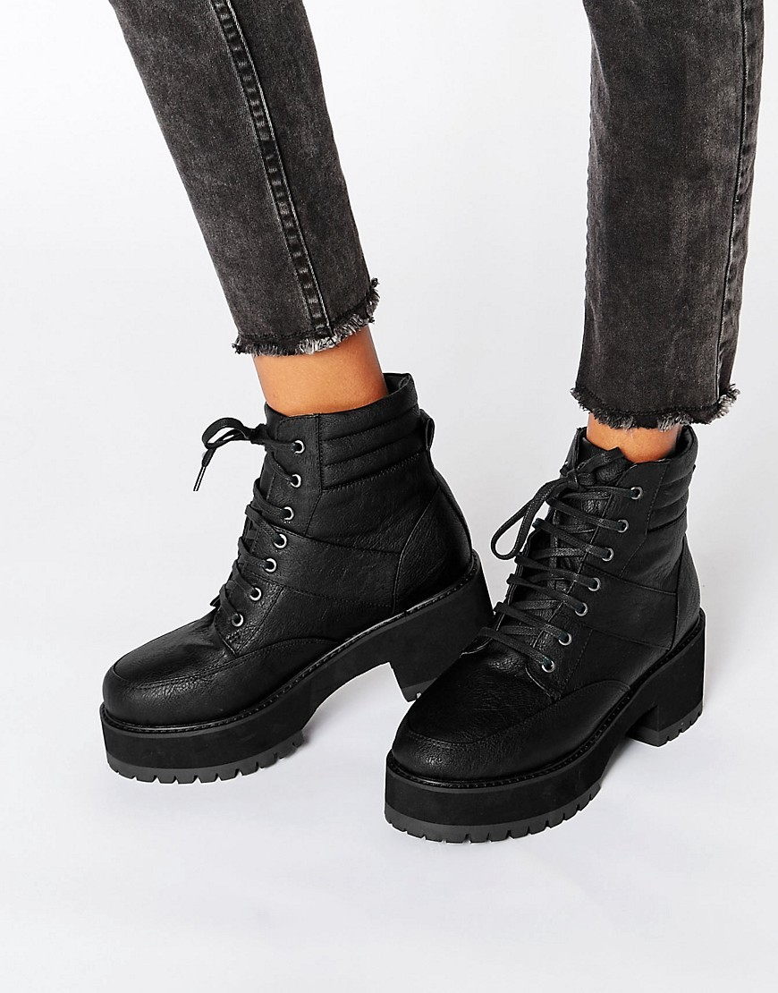 Rator Chunky Lace Up Ankle Boots Black - predominant colour: black; occasions: casual, creative work; material: faux leather; heel height: mid; heel: block; toe: round toe; boot length: ankle boot; finish: plain; pattern: plain; shoe detail: platform with tread; style: lace ups; season: a/w 2016