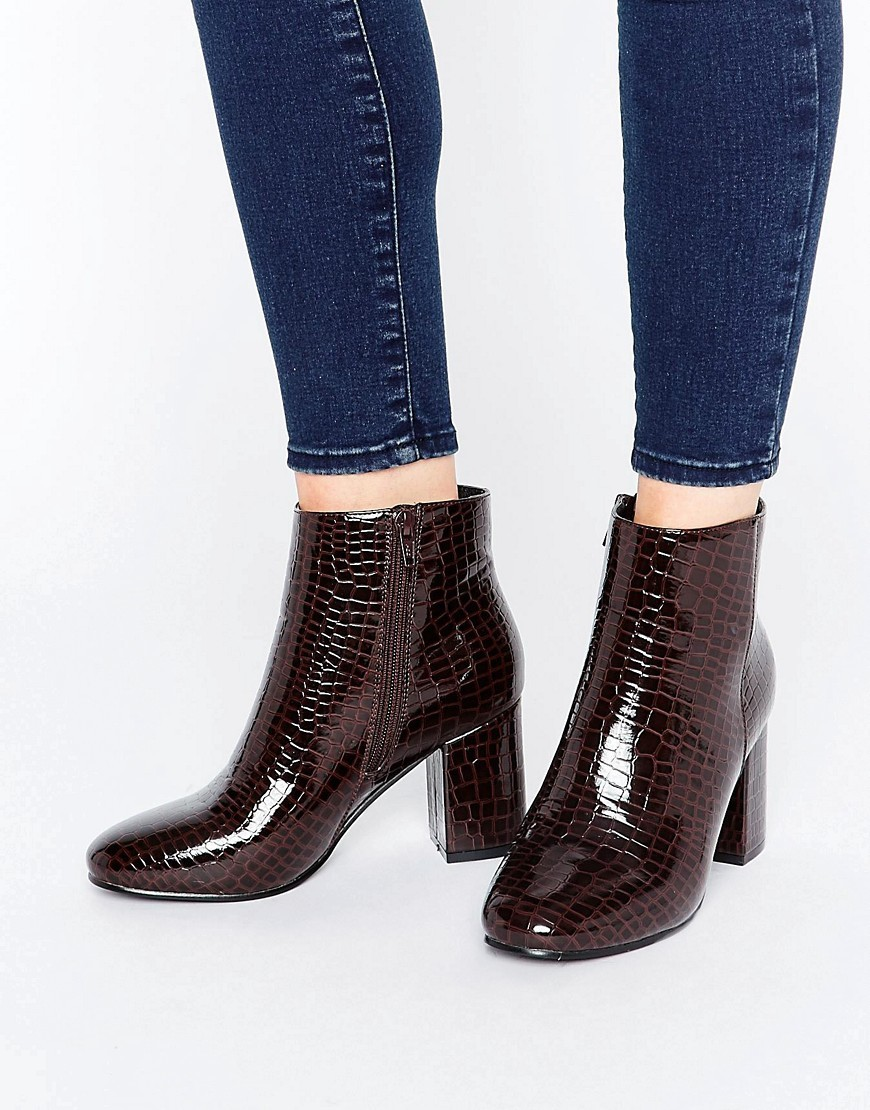 Rosaline Heeled Ankle Boots Burgundy Patent Croc - predominant colour: burgundy; occasions: casual, creative work; material: faux leather; heel height: high; heel: block; toe: round toe; boot length: ankle boot; style: standard; finish: patent; pattern: animal print; season: a/w 2016; wardrobe: highlight