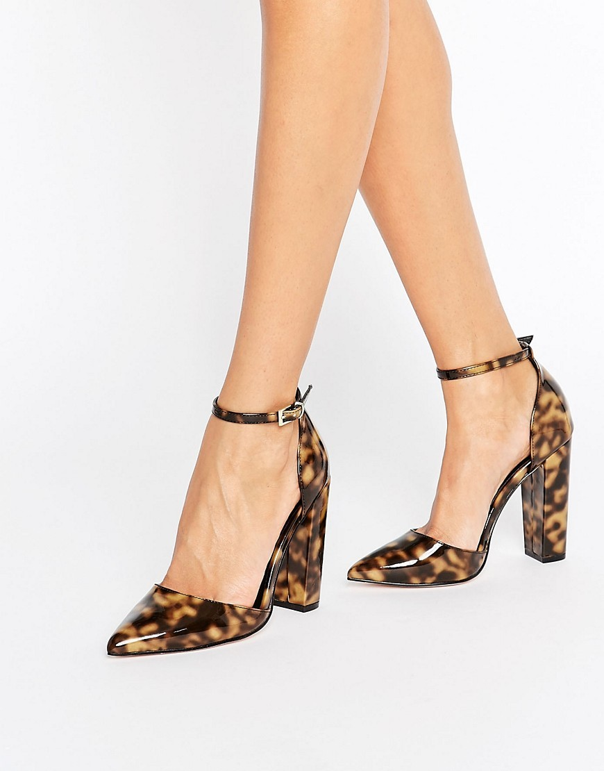 Penalty Pointed High Heels Tortoise - predominant colour: black; occasions: evening, occasion, creative work; material: faux leather; heel height: high; ankle detail: ankle strap; heel: block; toe: pointed toe; style: courts; finish: patent; pattern: animal print; season: a/w 2016; wardrobe: highlight