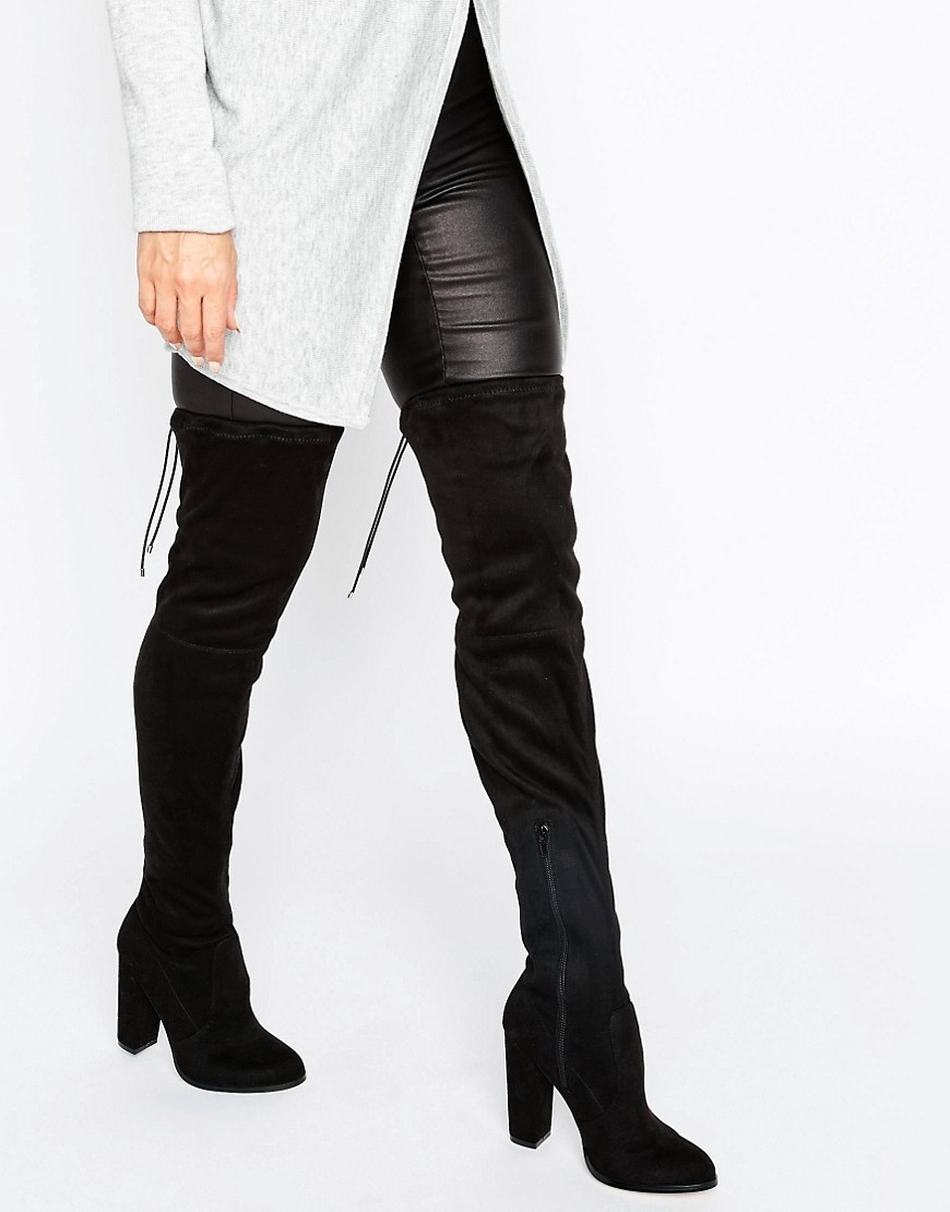 Kingdom Wide Leg Stretch Over The Knee Heeled Boots Black - predominant colour: black; occasions: casual, creative work; material: suede; heel height: high; heel: block; toe: round toe; boot length: over the knee; style: standard; finish: plain; pattern: plain; wardrobe: investment; season: a/w 2016