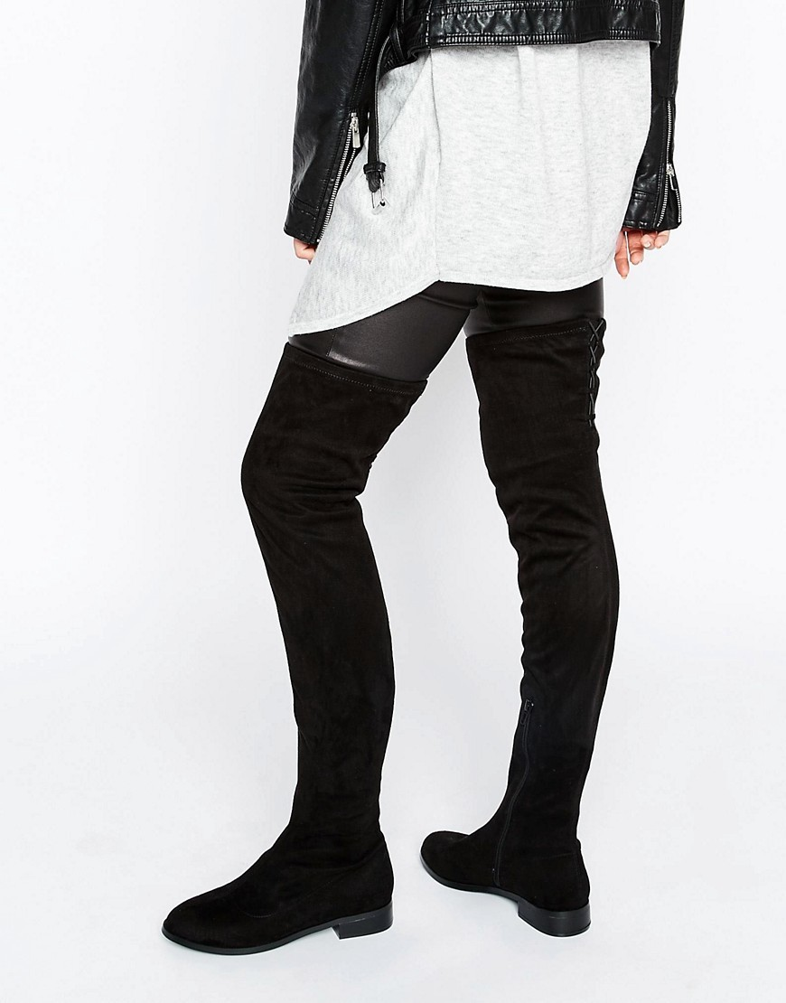 Keepers Wide Leg Flat Over The Knee Boots Black - predominant colour: black; occasions: casual, creative work; material: suede; heel height: flat; heel: standard; toe: round toe; boot length: over the knee; style: standard; finish: plain; pattern: plain; wardrobe: investment; season: a/w 2016