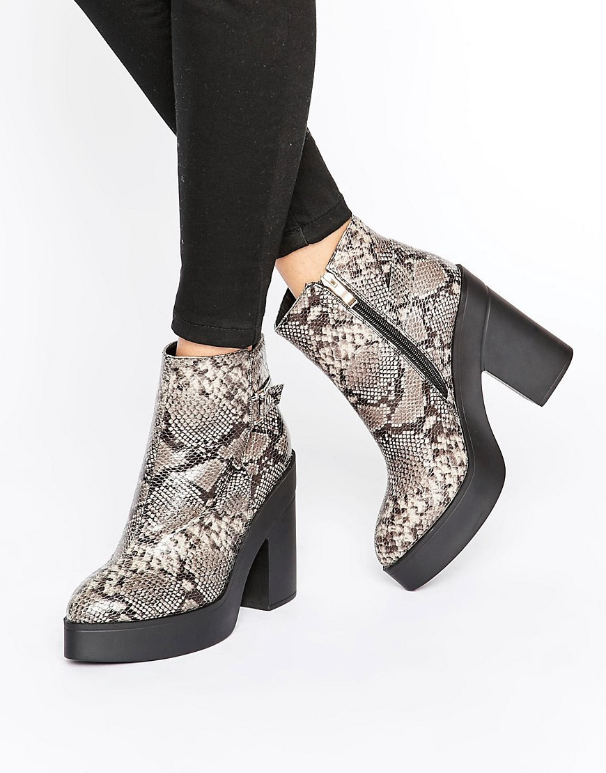Platform Snake Print Heeled Ankle Boots Dark Snakeskin - predominant colour: light grey; secondary colour: black; occasions: casual, creative work; material: faux leather; heel height: high; heel: block; toe: round toe; boot length: ankle boot; style: standard; finish: plain; pattern: animal print; shoe detail: platform; season: a/w 2016; wardrobe: highlight