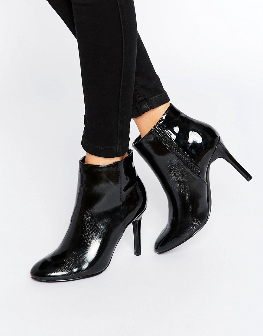 Psrecha Heeled Ankle Boots Black - predominant colour: black; occasions: evening; material: faux leather; heel height: high; heel: stiletto; toe: pointed toe; boot length: ankle boot; style: standard; finish: patent; pattern: plain; season: a/w 2016; wardrobe: event