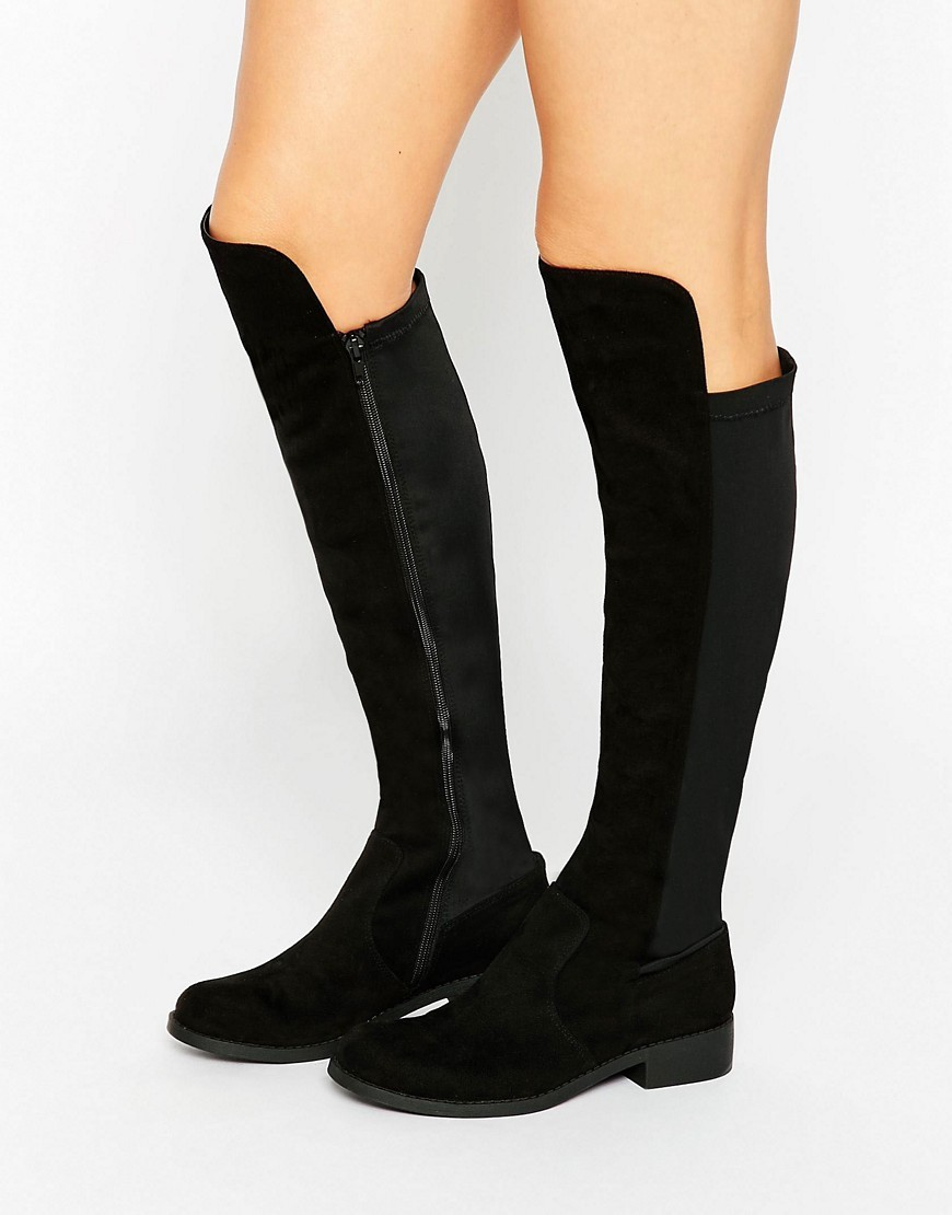 Connor Stretch Knee High Boots Black - predominant colour: black; occasions: casual, creative work; material: fabric; heel height: flat; heel: standard; toe: round toe; boot length: knee; style: standard; finish: plain; pattern: plain; season: a/w 2016; wardrobe: highlight