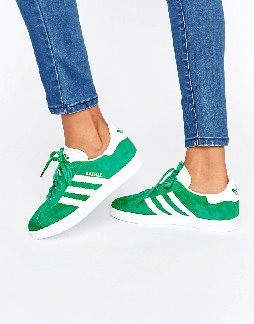 Originals Unisex Forest Green Suede Gazelle Trainers Green - secondary colour: white; predominant colour: emerald green; occasions: casual, creative work; material: suede; heel height: flat; toe: round toe; style: trainers; finish: plain; pattern: colourblock; season: a/w 2016; wardrobe: highlight