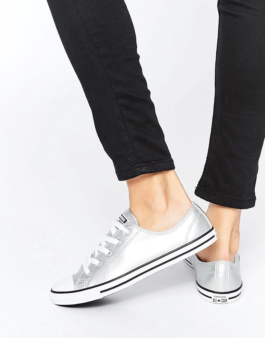 Chuck Taylor All Star Dainty Silver Metallic Trainers Silver - predominant colour: silver; occasions: casual, creative work; material: satin; heel height: flat; toe: round toe; style: trainers; finish: metallic; pattern: plain; wardrobe: basic; season: a/w 2016