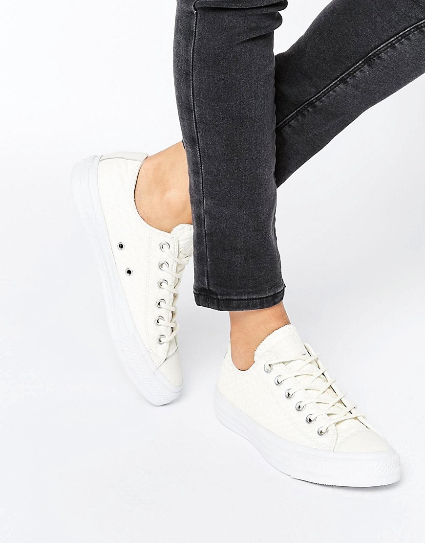 All Star Cream Textured Leather Trainers Cream - predominant colour: ivory/cream; occasions: casual, creative work; material: leather; heel height: flat; toe: round toe; style: trainers; finish: plain; pattern: plain; wardrobe: basic; season: a/w 2016