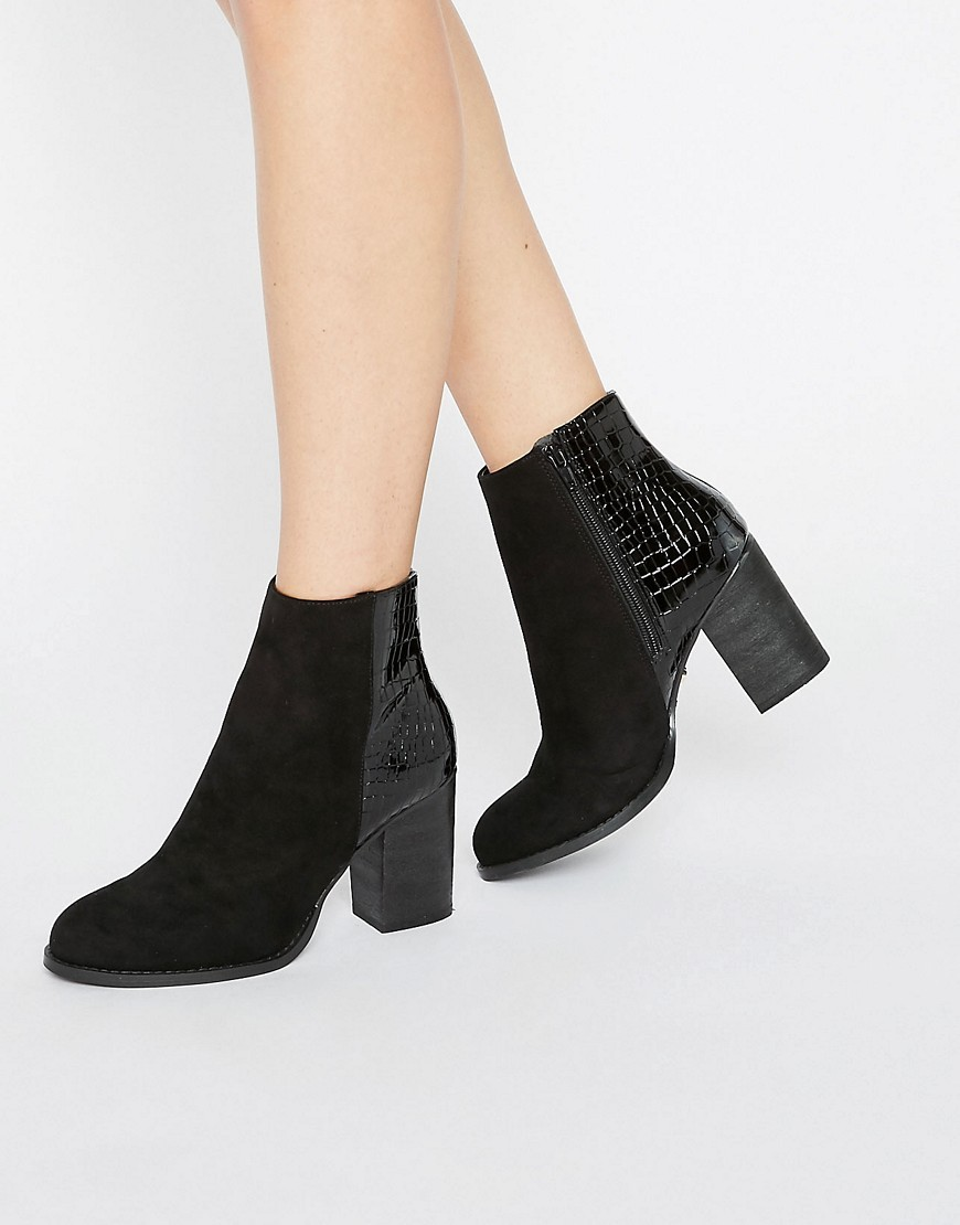 Maddie Snake Patched Boot Black - predominant colour: black; occasions: evening, creative work; heel height: high; heel: block; toe: round toe; boot length: ankle boot; style: standard; finish: plain; pattern: plain; material: faux suede; season: a/w 2016; wardrobe: highlight