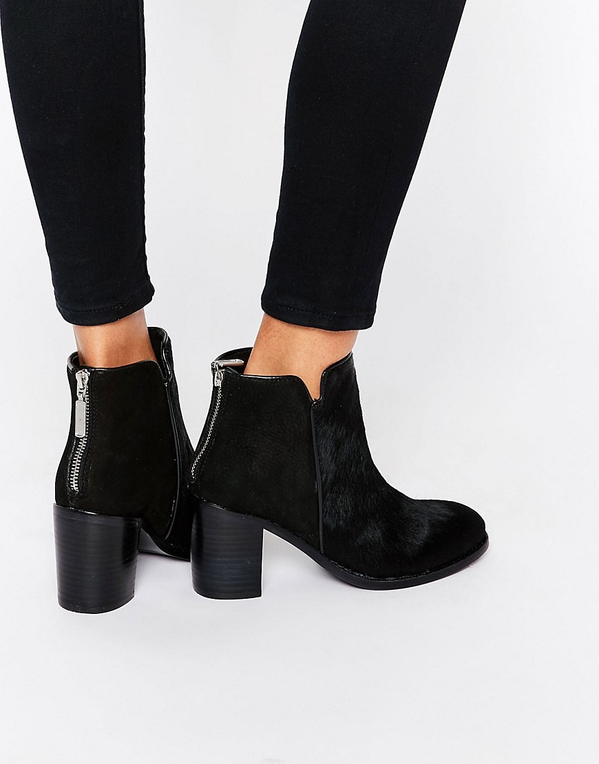 Weeping Pony Ankle Boots Black Ponyskin - predominant colour: black; occasions: work, creative work; heel height: high; heel: block; toe: round toe; boot length: ankle boot; style: standard; finish: plain; pattern: plain; material: pony skin; season: a/w 2016; wardrobe: highlight