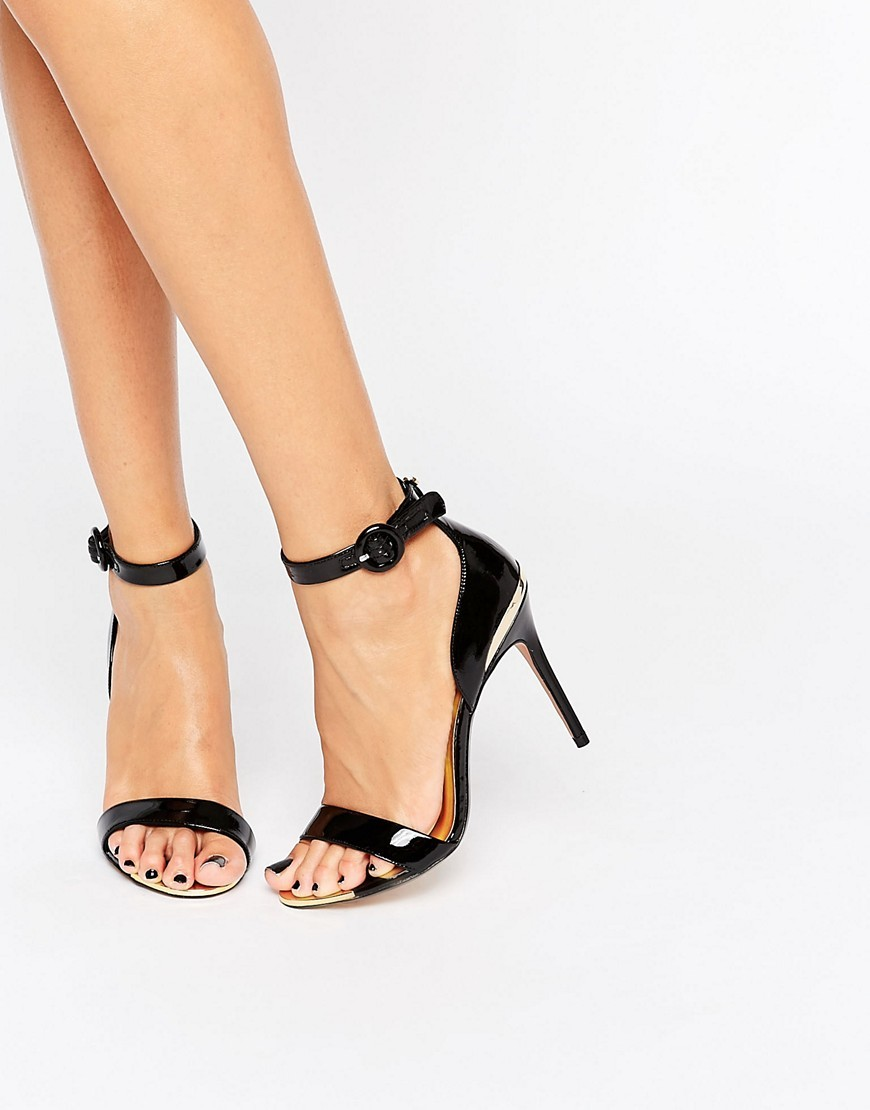 Rynne Patent Barely There Heeled Sandals Black Patent Leather - predominant colour: black; occasions: evening, occasion; material: leather; heel height: high; ankle detail: ankle strap; heel: stiletto; toe: open toe/peeptoe; style: standard; finish: patent; pattern: plain; season: a/w 2016; wardrobe: event