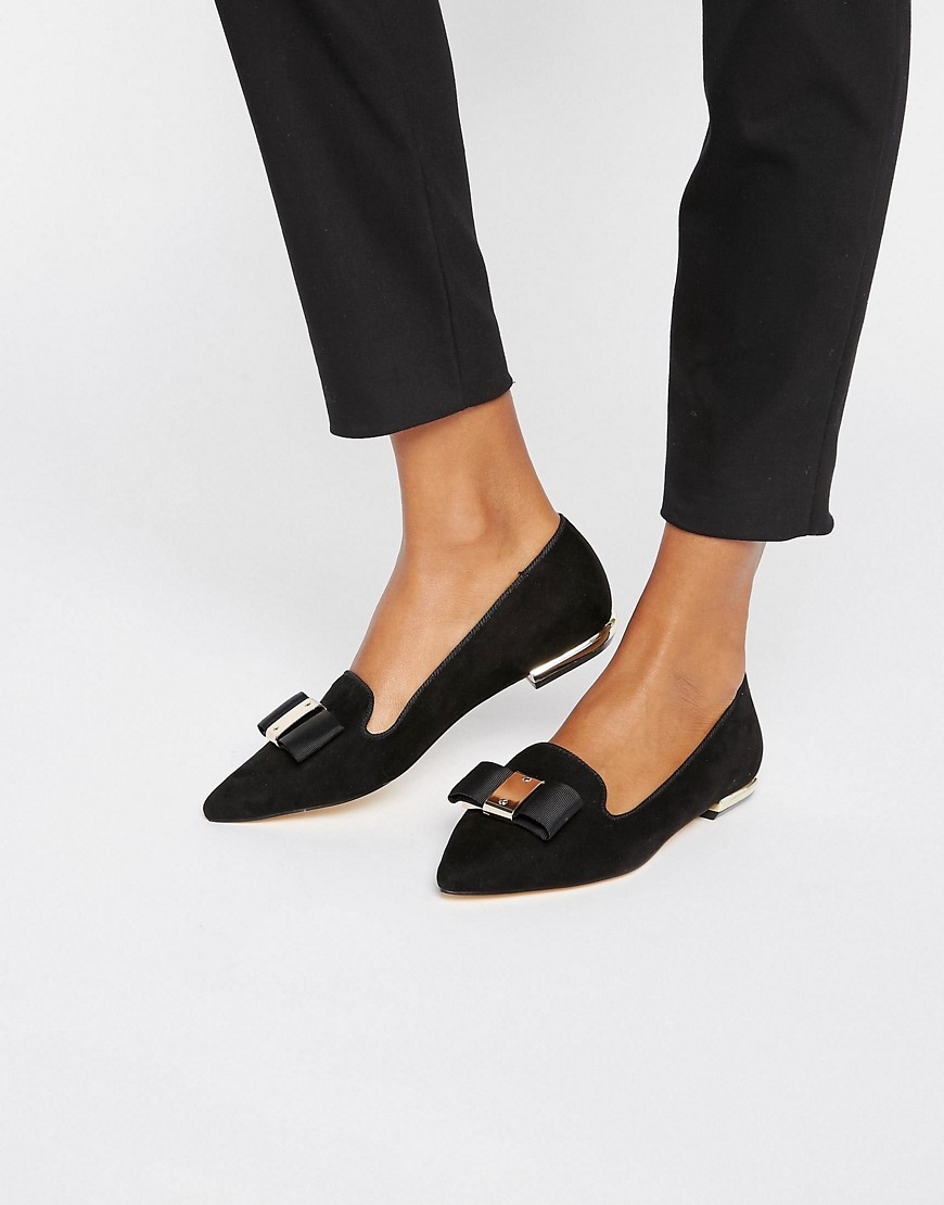 Bow Trim Slipper Loafers Black - predominant colour: black; occasions: casual, work, creative work; material: suede; heel height: flat; embellishment: buckles; toe: pointed toe; style: ballerinas / pumps; finish: plain; pattern: plain; season: a/w 2016