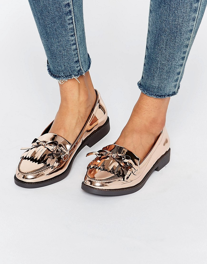 Metallic Fringe Loafer Bronze - predominant colour: gold; secondary colour: black; occasions: casual, creative work; material: faux leather; heel height: flat; toe: round toe; style: loafers; finish: patent; pattern: colourblock; embellishment: bow; season: a/w 2016; wardrobe: highlight