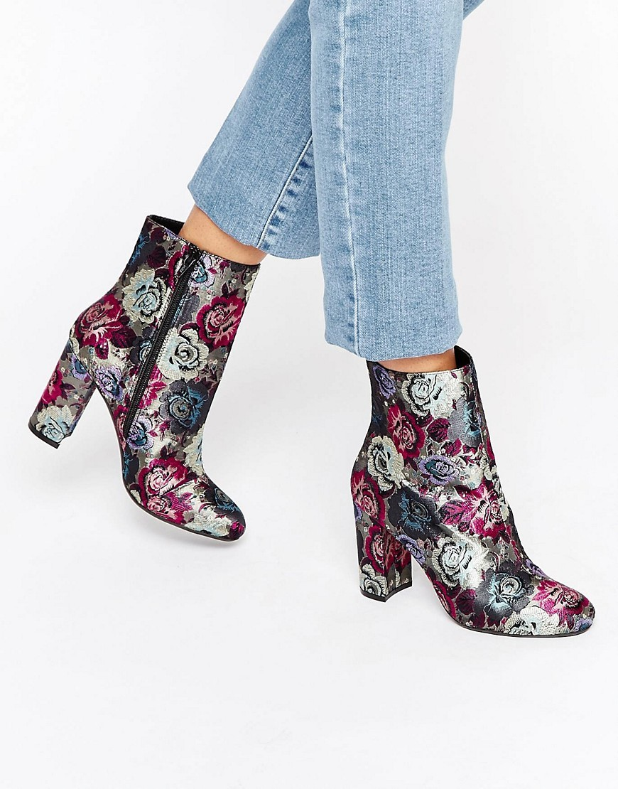 Oxford Floral Heeled Ankle Boots Floral Fabric - predominant colour: hot pink; secondary colour: silver; occasions: casual; material: leather; heel height: high; heel: block; toe: round toe; boot length: ankle boot; style: standard; finish: plain; pattern: florals; multicoloured: multicoloured; season: a/w 2016; wardrobe: highlight