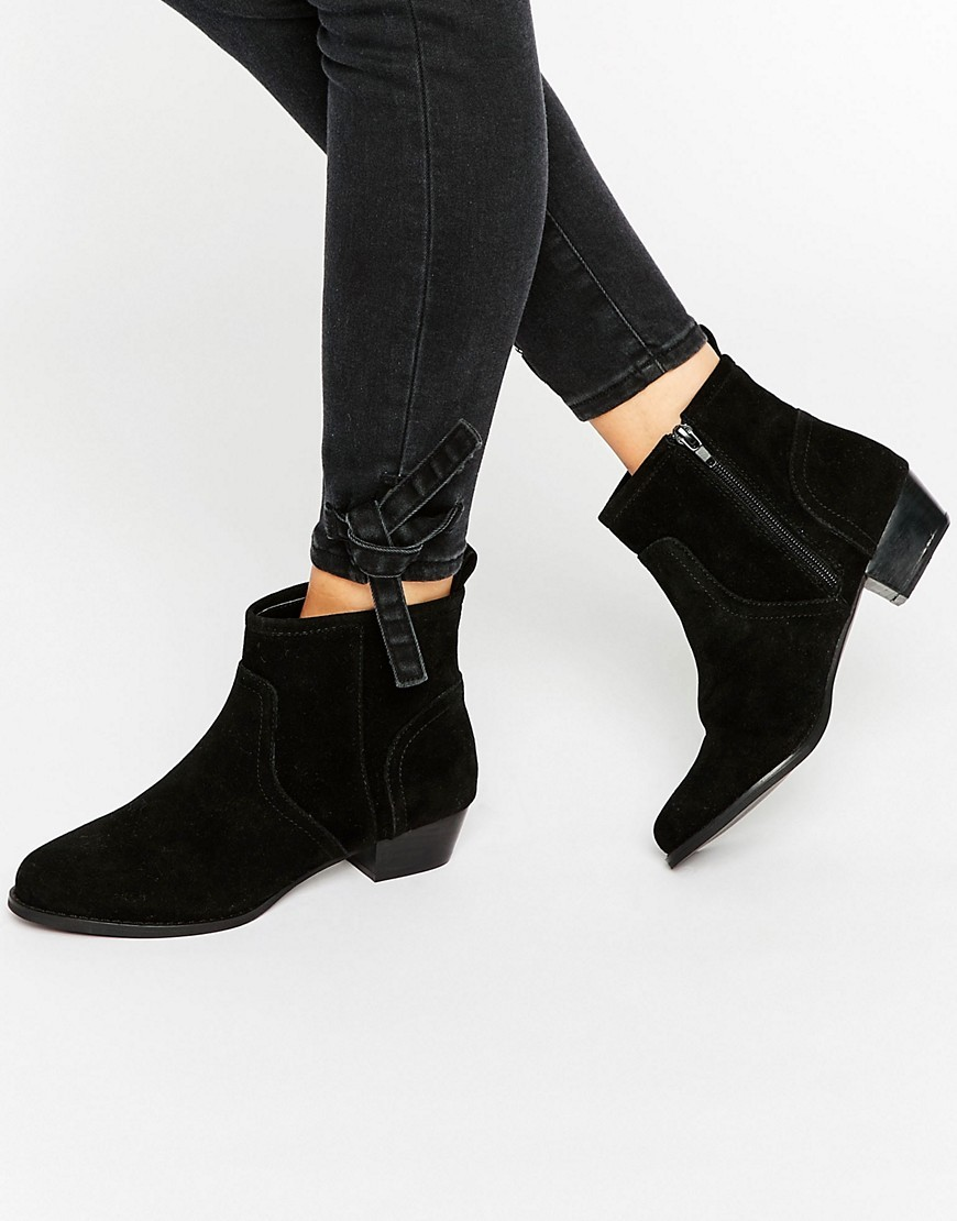 Jan Ankle Boots Black Suedette - predominant colour: black; occasions: casual; heel height: mid; heel: block; toe: round toe; boot length: ankle boot; style: standard; finish: plain; pattern: plain; material: faux suede; season: a/w 2016