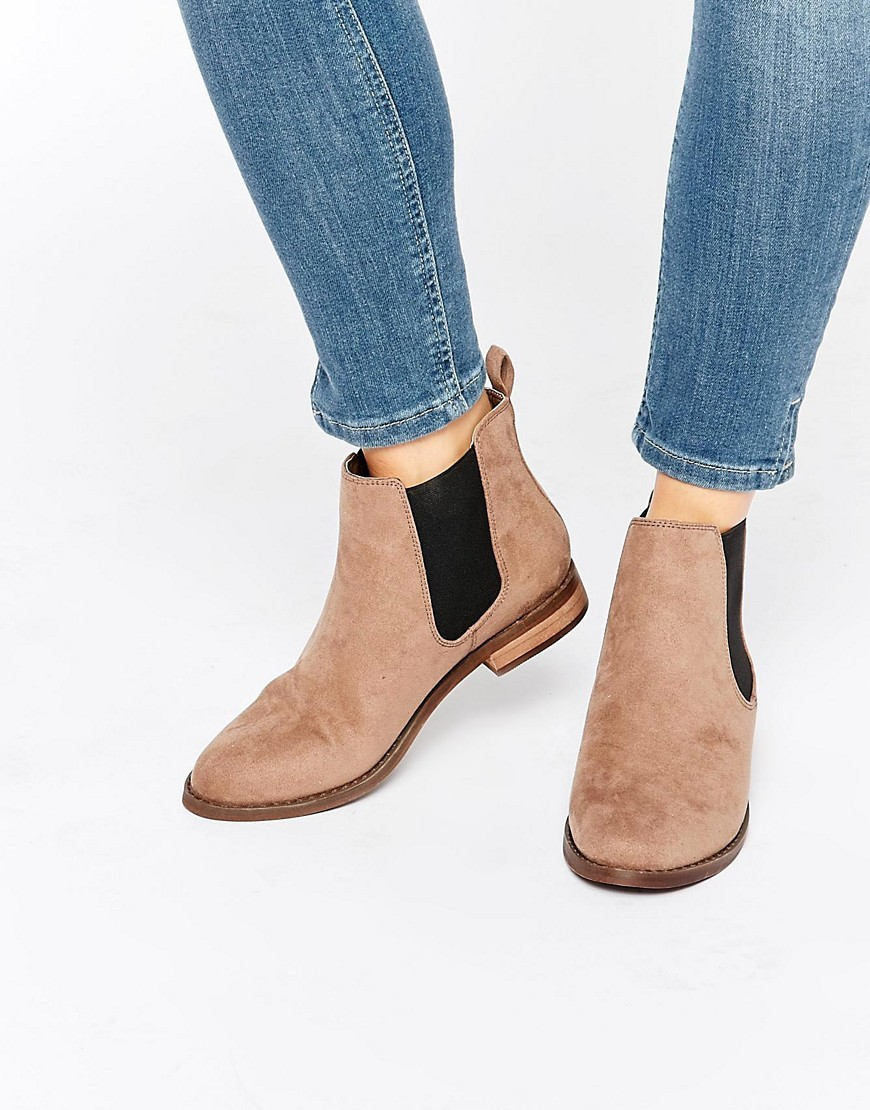 Jensen Chelsea Boots Taupe Suedette - predominant colour: taupe; occasions: casual; heel height: flat; heel: block; toe: round toe; boot length: ankle boot; style: standard; finish: plain; pattern: plain; material: faux suede; season: a/w 2016