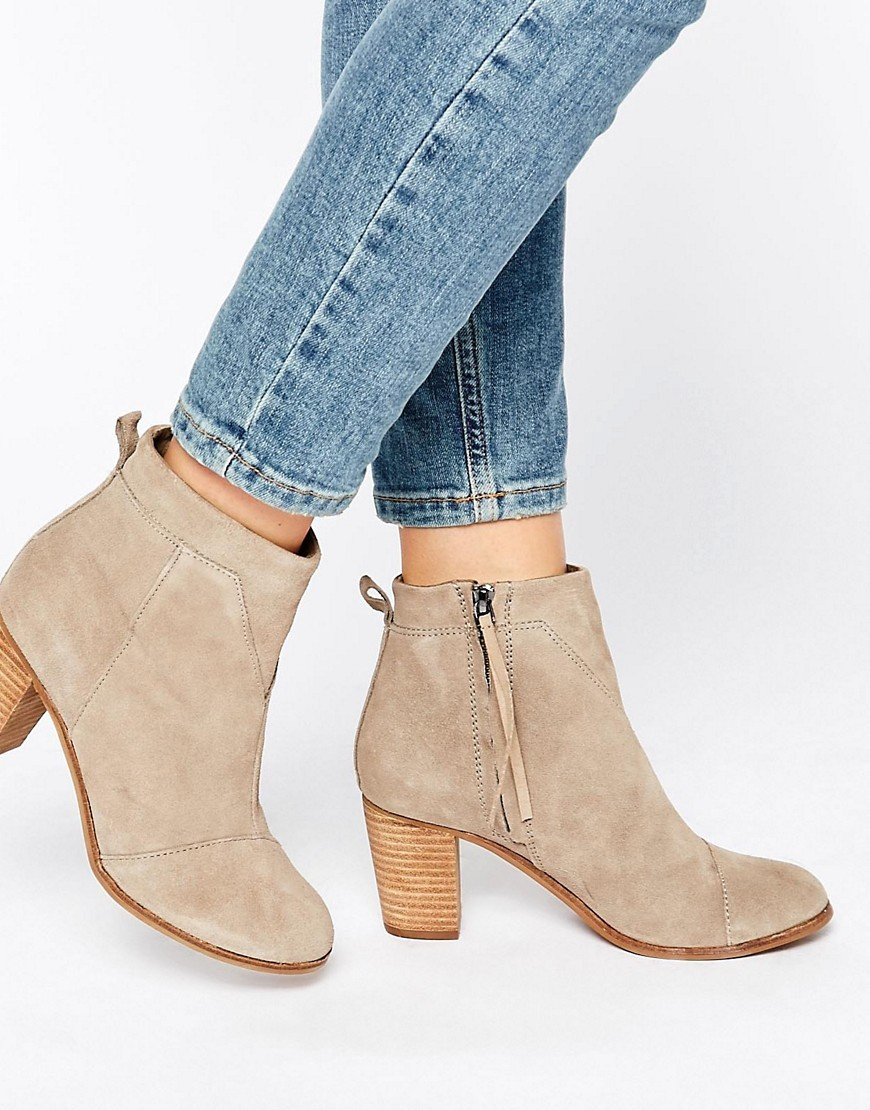 Taupe Suede Lunata Heeled Boots Taupe Suede - predominant colour: taupe; occasions: casual, creative work; material: suede; heel height: high; heel: block; toe: round toe; boot length: ankle boot; style: standard; finish: plain; pattern: plain; season: a/w 2016; wardrobe: highlight