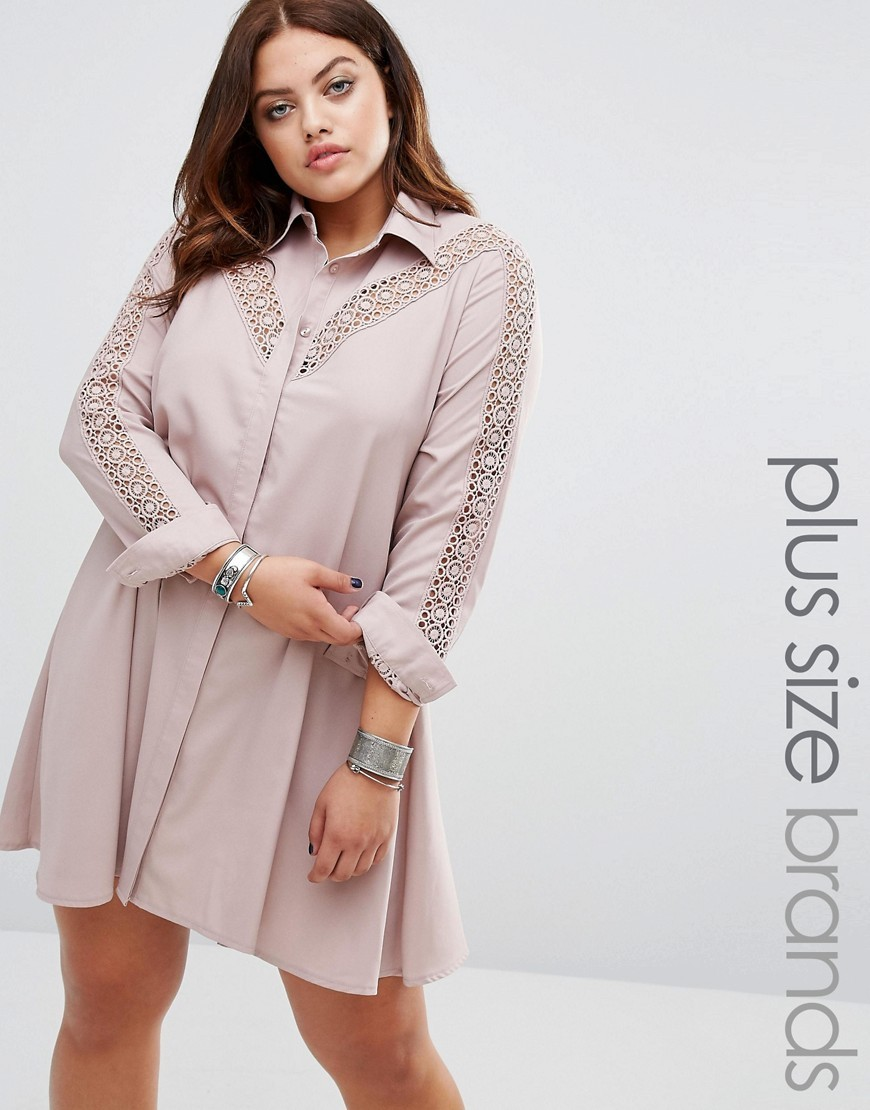 Lace Insert Shirt Dress Mauve - style: shirt; length: mid thigh; neckline: shirt collar/peter pan/zip with opening; fit: loose; pattern: plain; predominant colour: stone; occasions: casual, creative work; fibres: polyester/polyamide - 100%; sleeve length: 3/4 length; sleeve style: standard; texture group: crepes; pattern type: fabric; embellishment: lace; season: a/w 2016; wardrobe: highlight; embellishment location: bust, sleeve/cuff