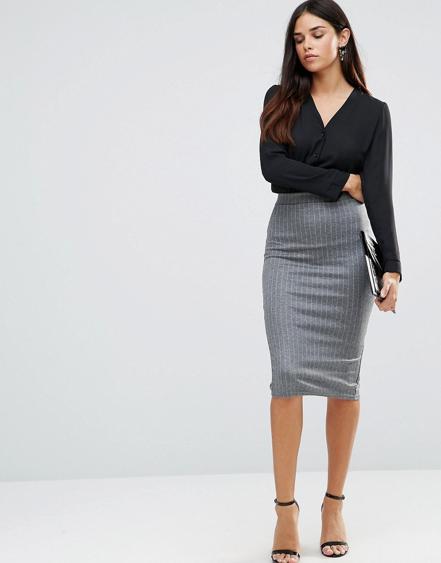 Striped Pencil Skirt Grey - length: below the knee; pattern: plain; style: pencil; fit: tight; waist: mid/regular rise; predominant colour: mid grey; occasions: work; fibres: polyester/polyamide - stretch; texture group: jersey - clingy; pattern type: fabric; wardrobe: basic; season: a/w 2016