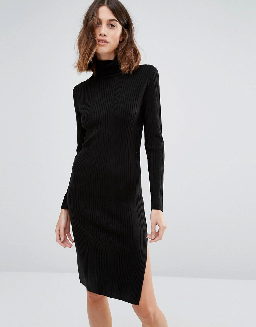 Long Sleeve Rollneck Dress Black - style: jumper dress; pattern: plain; neckline: roll neck; hip detail: draws attention to hips; predominant colour: black; occasions: casual, evening; length: just above the knee; fit: body skimming; fibres: acrylic - mix; sleeve length: long sleeve; sleeve style: standard; texture group: knits/crochet; pattern type: fabric; wardrobe: basic; season: a/w 2016