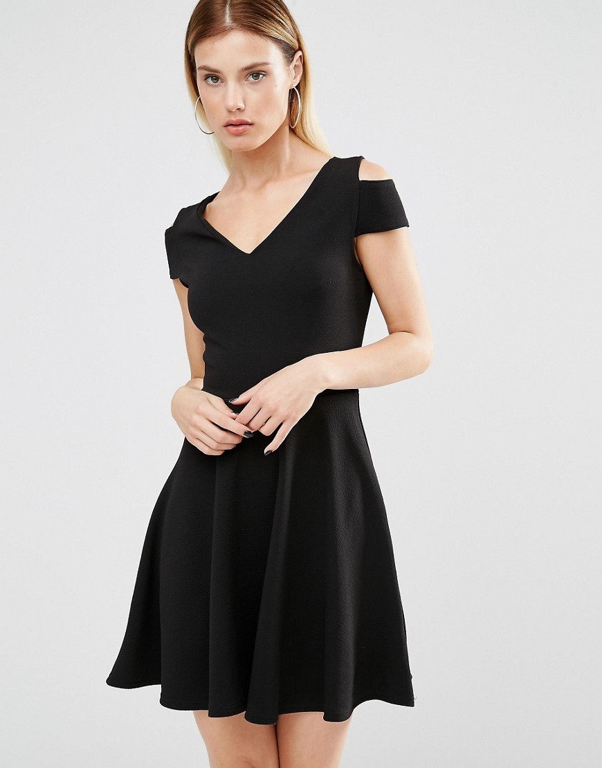 Bardot Skater Dress With Cut Out Shoulder Detail Black - neckline: v-neck; sleeve style: capped; pattern: plain; predominant colour: black; occasions: evening; length: just above the knee; fit: fitted at waist & bust; style: fit & flare; fibres: polyester/polyamide - stretch; shoulder detail: cut out shoulder; sleeve length: short sleeve; pattern type: fabric; texture group: jersey - stretchy/drapey; season: a/w 2016; wardrobe: event