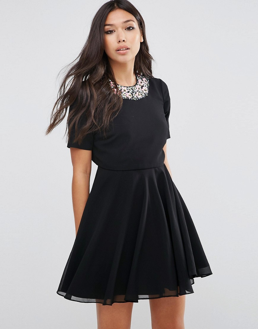 Embellished Floral Crop Top Mini Dress Black - length: mini; pattern: plain; secondary colour: pink; predominant colour: black; occasions: evening, occasion; fit: fitted at waist & bust; style: fit & flare; fibres: polyester/polyamide - 100%; neckline: crew; sleeve length: short sleeve; sleeve style: standard; texture group: sheer fabrics/chiffon/organza etc.; pattern type: fabric; embellishment: crystals/glass; season: a/w 2016; wardrobe: event; embellishment location: neck