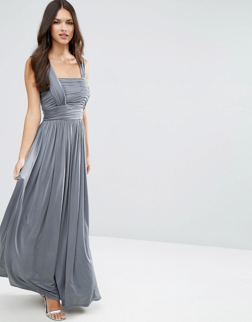 Wedding Slinky Ruched Maxi Dress Grey - sleeve style: wide vest straps; pattern: plain; style: maxi dress; back detail: back revealing; predominant colour: mid grey; length: floor length; fit: soft a-line; fibres: polyester/polyamide - stretch; occasions: occasion; sleeve length: sleeveless; neckline: low square neck; pattern type: fabric; pattern size: standard; texture group: jersey - stretchy/drapey; season: a/w 2016; wardrobe: event