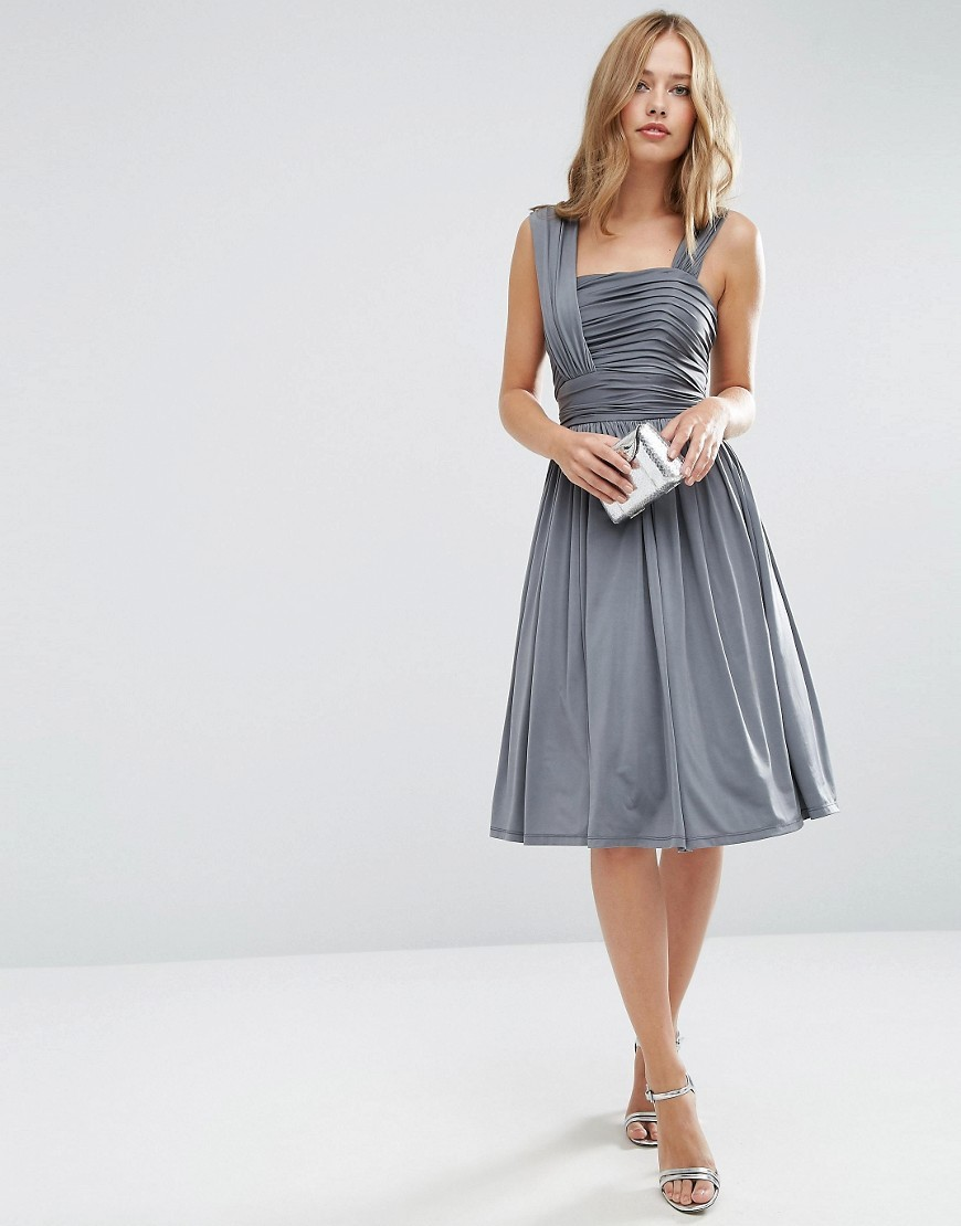 Wedding Slinky Ruched Midi Dress Grey - length: below the knee; pattern: plain; sleeve style: sleeveless; predominant colour: charcoal; occasions: evening; fit: fitted at waist & bust; style: fit & flare; fibres: polyester/polyamide - stretch; sleeve length: sleeveless; neckline: medium square neck; pattern type: fabric; texture group: other - light to midweight; season: a/w 2016; wardrobe: event