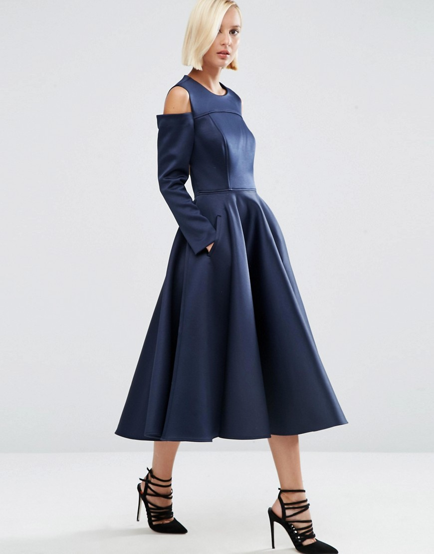 Bonded Satin Midi Dress With Cold Shoulder Navy - length: calf length; pattern: plain; style: full skirt; predominant colour: navy; occasions: evening; fit: fitted at waist & bust; fibres: polyester/polyamide - 100%; neckline: crew; shoulder detail: cut out shoulder; sleeve length: long sleeve; sleeve style: standard; texture group: structured shiny - satin/tafetta/silk etc.; pattern type: fabric; season: a/w 2016