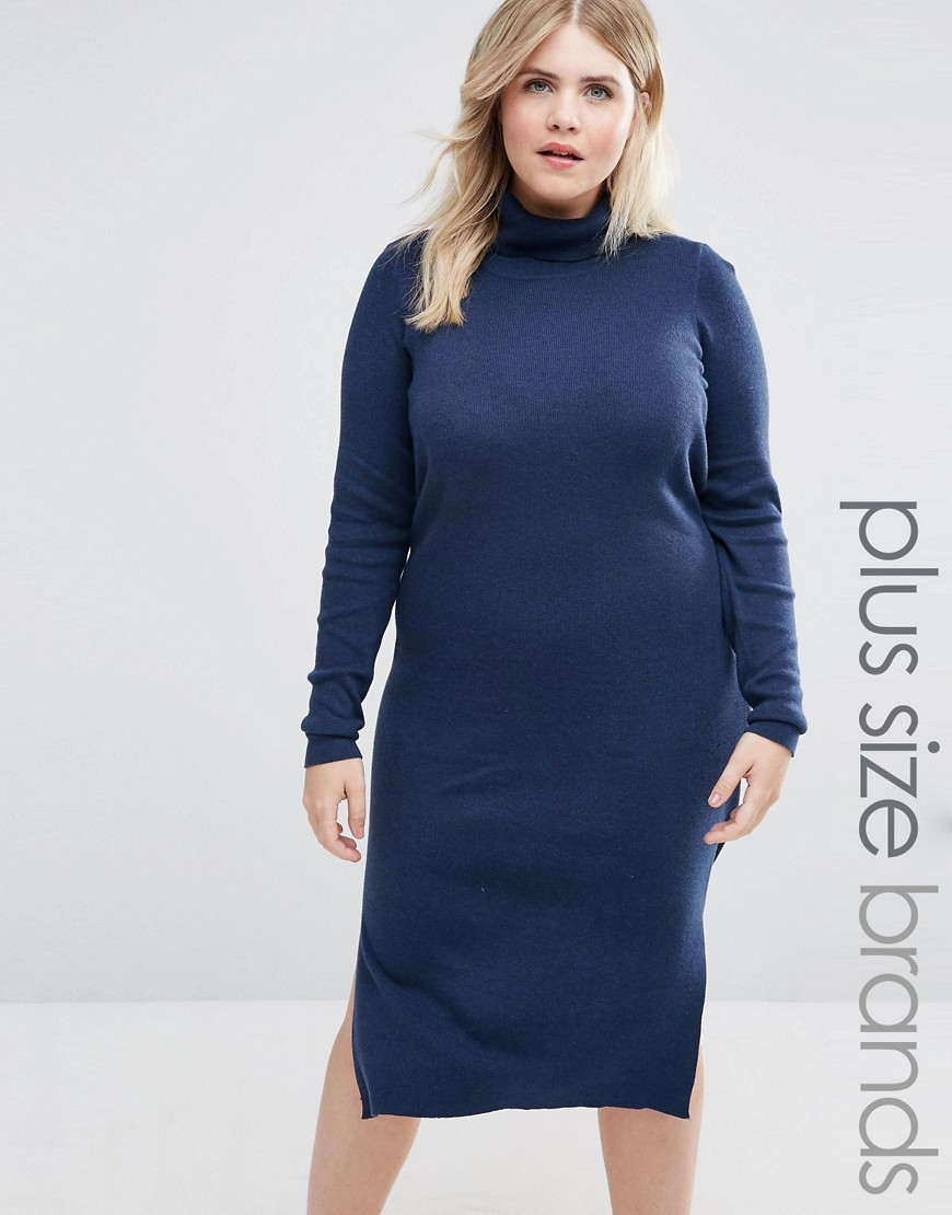 Roll Neck Knitted Dress Navy - style: jumper dress; length: below the knee; pattern: plain; neckline: high neck; hip detail: draws attention to hips; predominant colour: navy; occasions: casual; fit: body skimming; fibres: cotton - mix; sleeve length: long sleeve; sleeve style: standard; pattern type: fabric; texture group: jersey - stretchy/drapey; wardrobe: basic; season: a/w 2016