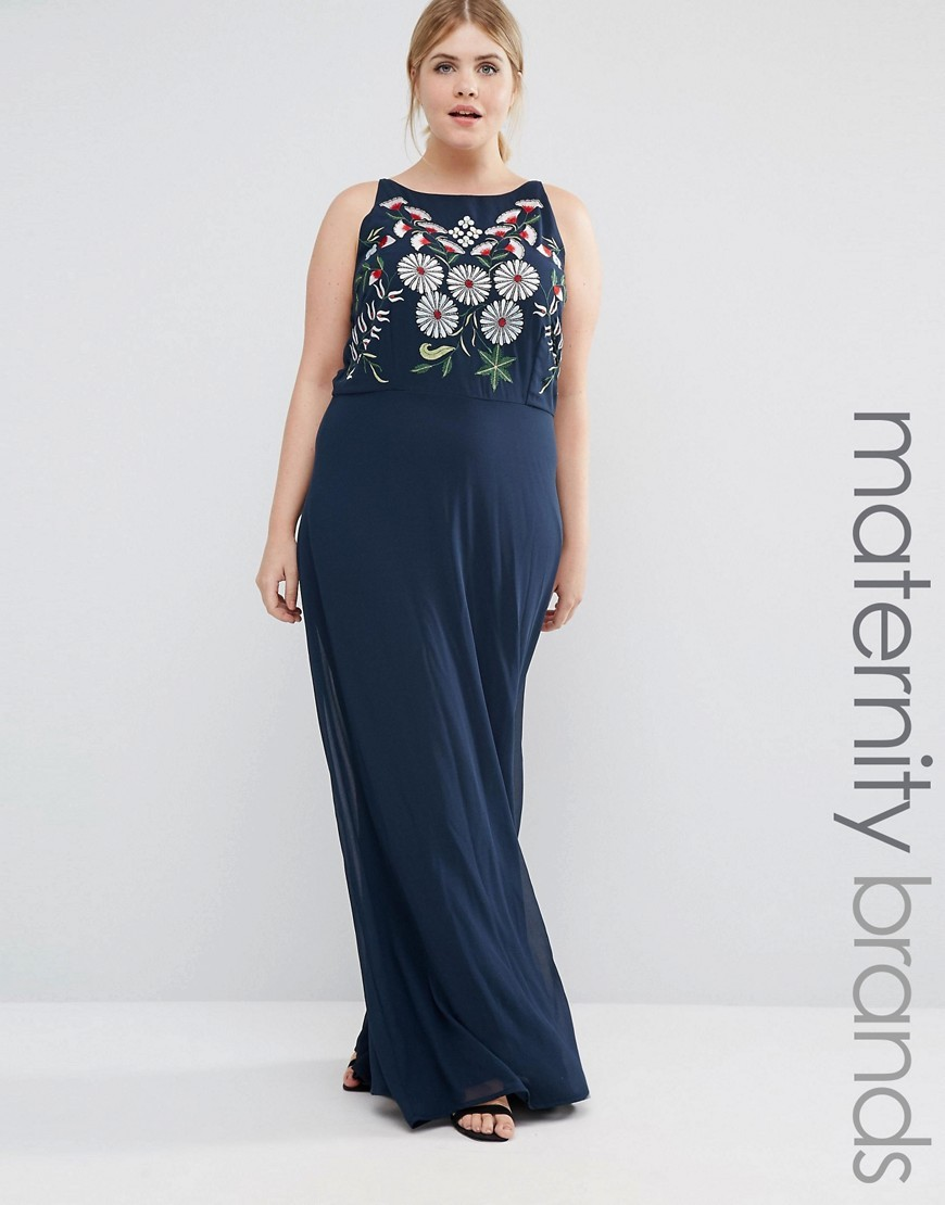Plus Maxi Dress With Embriodered Top Navy - sleeve style: sleeveless; style: maxi dress; secondary colour: white; predominant colour: navy; occasions: casual; length: floor length; fit: body skimming; fibres: polyester/polyamide - 100%; neckline: crew; sleeve length: sleeveless; pattern type: fabric; pattern: florals; texture group: jersey - stretchy/drapey; embellishment: embroidered; season: a/w 2016; wardrobe: highlight; embellishment location: top