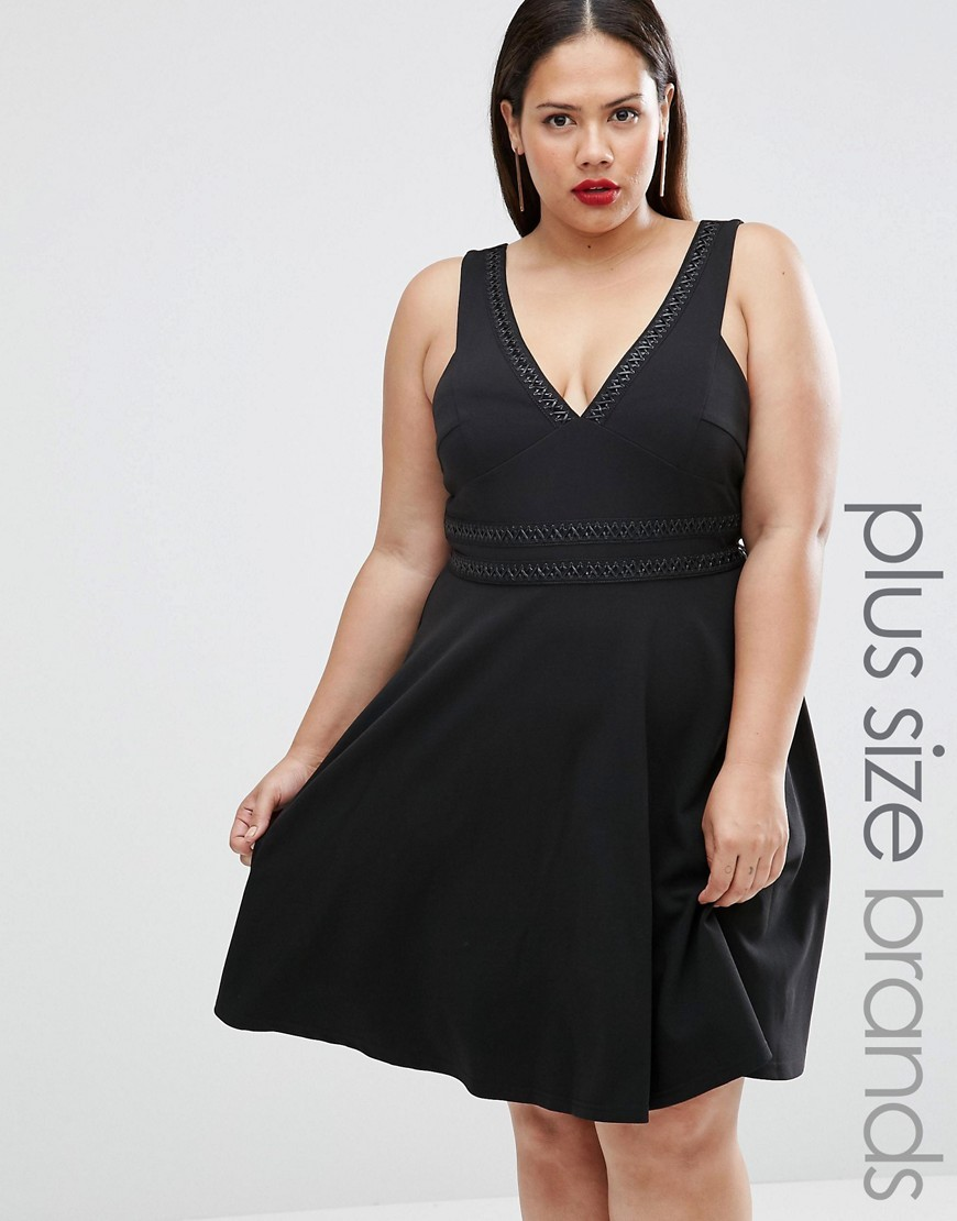 Plus Skater Dress Black - neckline: low v-neck; pattern: plain; sleeve style: sleeveless; predominant colour: black; occasions: evening; length: just above the knee; fit: fitted at waist & bust; style: fit & flare; fibres: polyester/polyamide - 100%; sleeve length: sleeveless; pattern type: fabric; texture group: jersey - stretchy/drapey; season: a/w 2016
