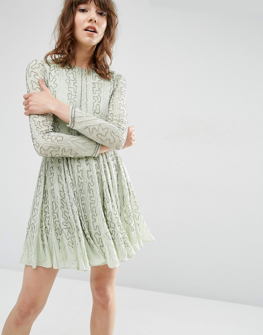 Beautiful Bugle Beaded Long Sleeve Skater Dress Mint - pattern: plain; predominant colour: pistachio; occasions: casual; length: just above the knee; fit: fitted at waist & bust; style: fit & flare; fibres: polyester/polyamide - 100%; neckline: crew; sleeve length: long sleeve; sleeve style: standard; texture group: lace; pattern type: fabric; season: a/w 2016; wardrobe: highlight