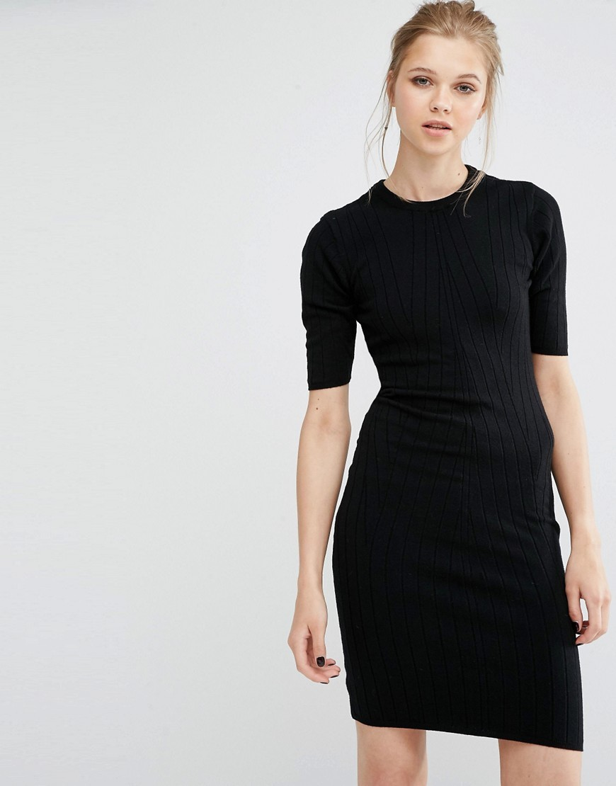 Boni Ribbed Bodycon Dress In Knit Black - fit: tight; pattern: plain; style: bodycon; predominant colour: black; occasions: evening; length: just above the knee; neckline: crew; sleeve length: short sleeve; sleeve style: standard; texture group: jersey - clingy; pattern type: fabric; fibres: viscose/rayon - mix; season: a/w 2016; wardrobe: event