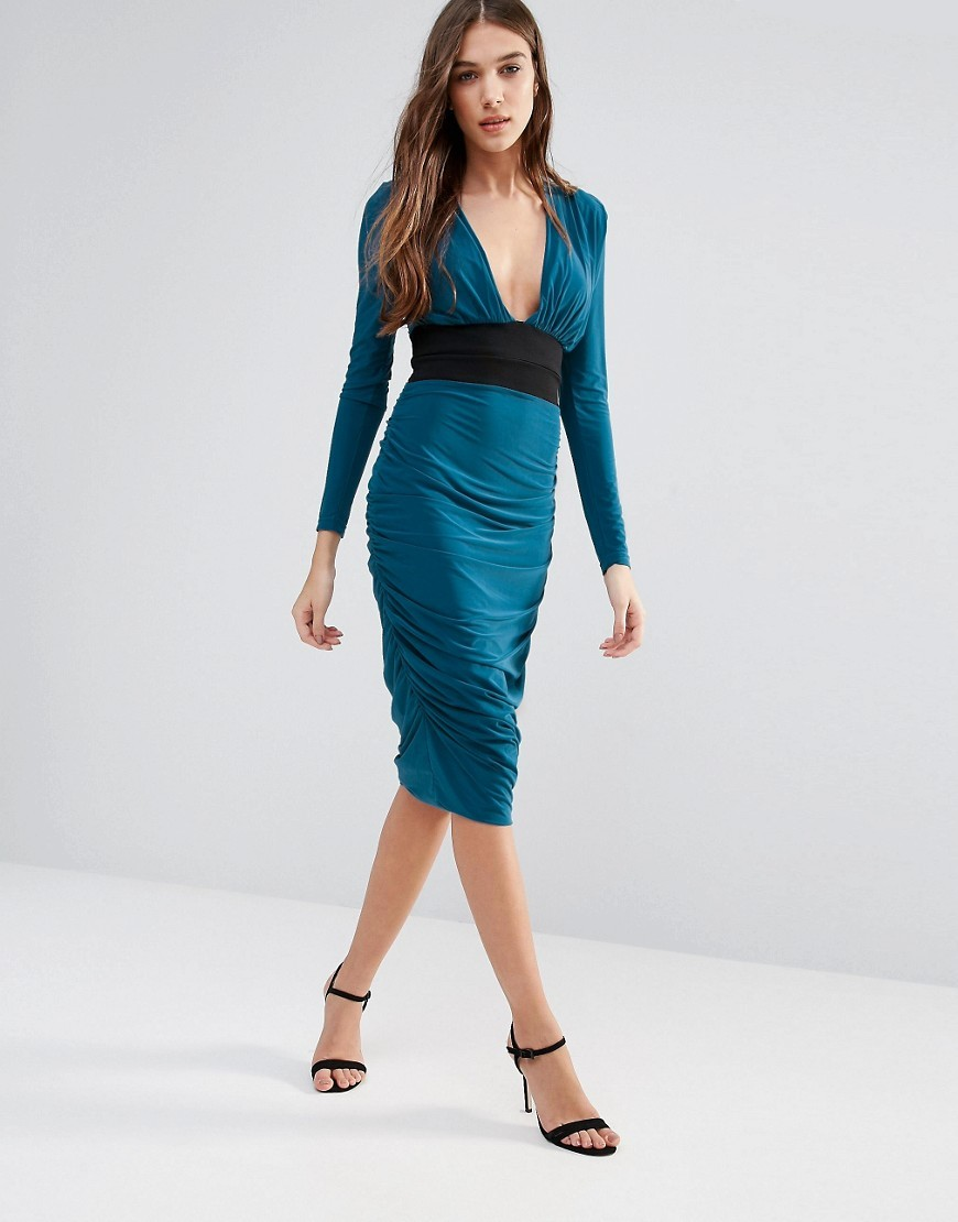 Long Sleeve Pencil Dress With Contrast Waist Band Teal - length: below the knee; neckline: v-neck; fit: tight; pattern: plain; style: bodycon; predominant colour: teal; secondary colour: black; occasions: evening; fibres: polyester/polyamide - stretch; waist detail: feature waist detail; sleeve length: long sleeve; sleeve style: standard; texture group: jersey - clingy; pattern type: fabric; season: a/w 2016; wardrobe: event