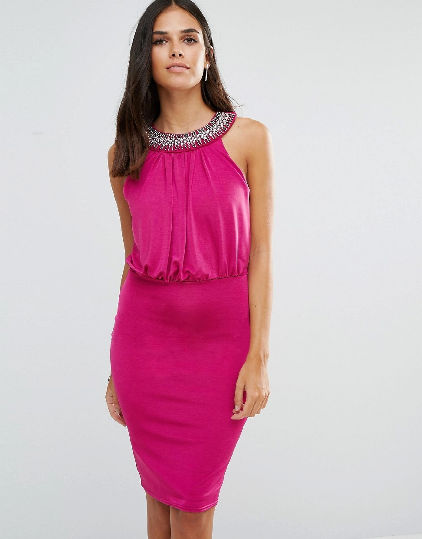 Pencil Dress With Embellished Neckline Pink - fit: tight; pattern: plain; sleeve style: sleeveless; style: blouson; bust detail: added detail/embellishment at bust; predominant colour: hot pink; occasions: evening; length: on the knee; fibres: polyester/polyamide - stretch; neckline: crew; sleeve length: sleeveless; texture group: jersey - clingy; pattern type: fabric; embellishment: crystals/glass; season: a/w 2016; wardrobe: event