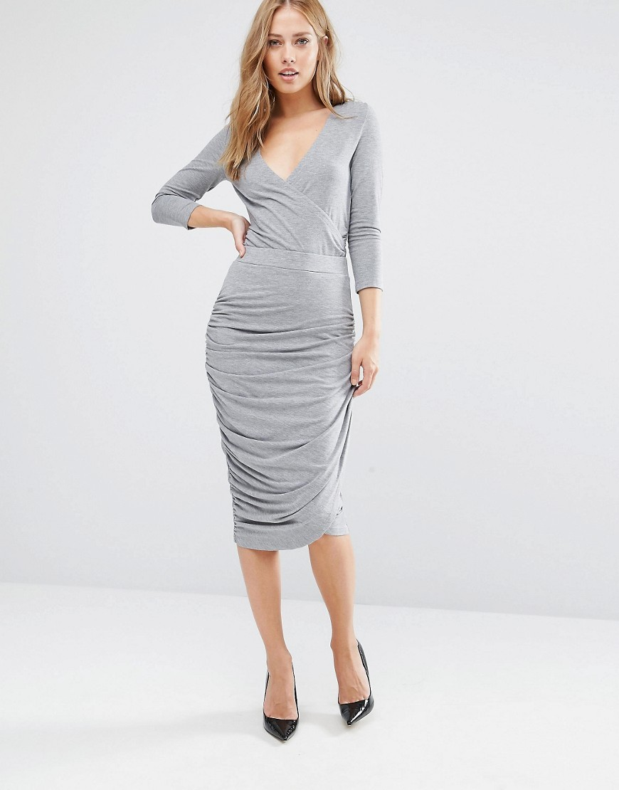 Sarny Jersey Asymmetric Skirt Grey - length: below the knee; pattern: plain; fit: tight; waist: high rise; waist detail: flattering waist detail; predominant colour: light grey; occasions: evening, occasion; fibres: cotton - mix; style: tube; hip detail: adds bulk at the hips; texture group: jersey - clingy; pattern type: fabric; season: a/w 2016; wardrobe: event